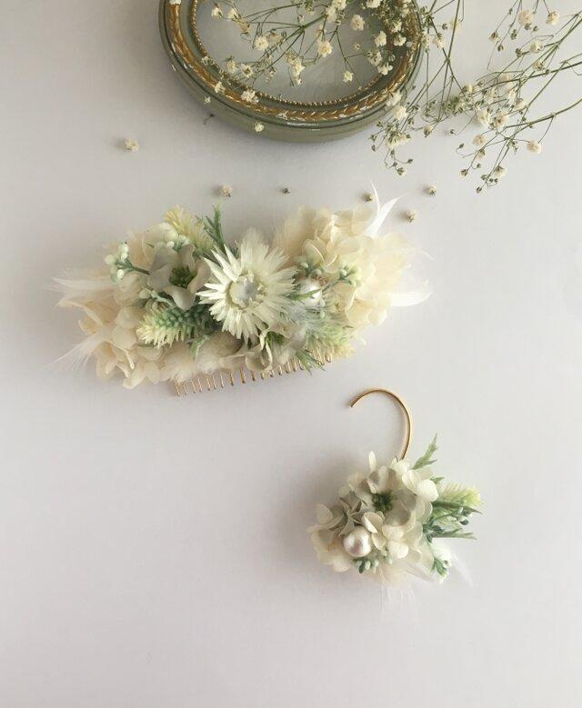 髪飾り&耳飾りのセット✴︎紫陽花とハニーテール✴︎の画像1枚目