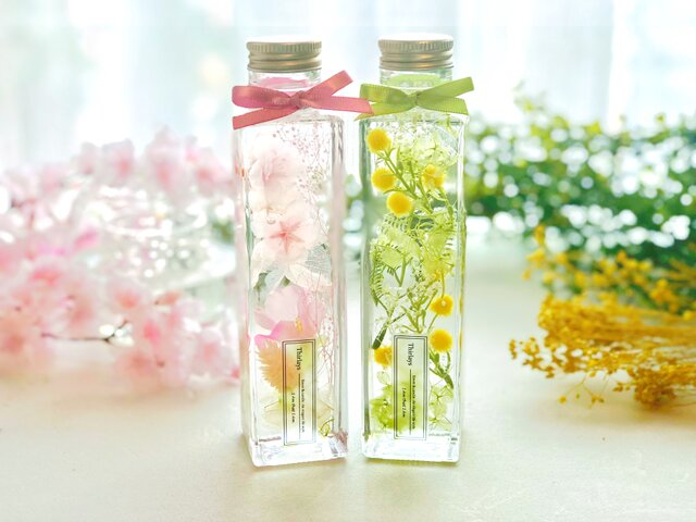 2本セット〜ミモザと桜のお庭~春のハーバリウム〜 Mサイズの画像1枚目