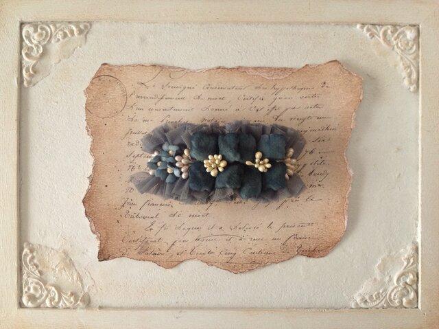 染め花の紫陽花バレッタ(ネイビー&グレー)の画像1枚目