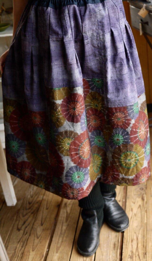 ウール反物2種からスカートの画像1枚目