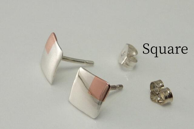 SquareW7+Bs -四角いピアス +銅(スタッド)-の画像1枚目