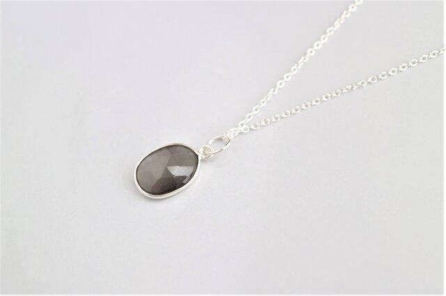 Silver グレームーンストーンのネックレス(L)の画像1枚目