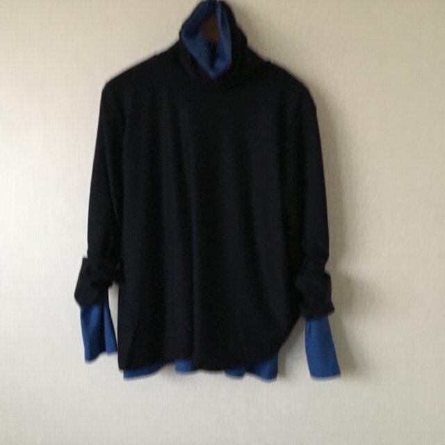 ウールふんわり長袖タートルカットソー 紺Fの画像1枚目