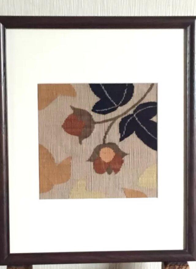 綴れ織り額装・綿花の画像1枚目