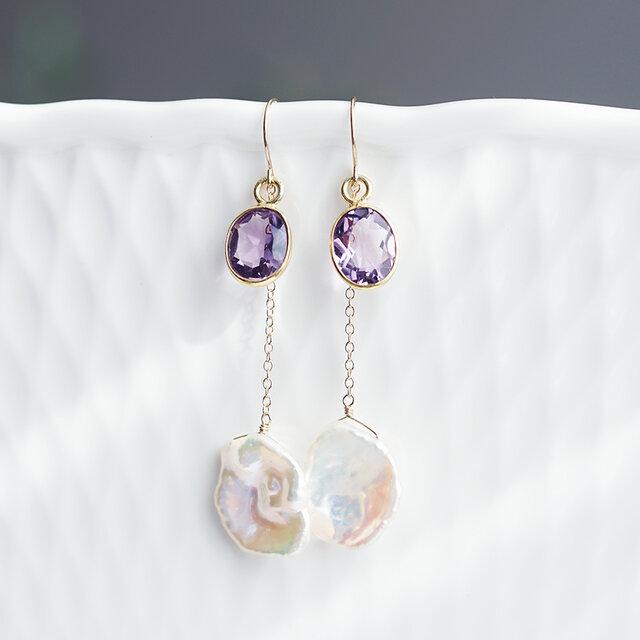 K18アメジストと花びら真珠のロングピアス ~Karinaの画像1枚目