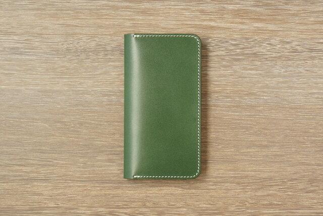 牛革 iPhoneXS MAXカバー  ヌメ革  レザーケース  手帳型  グリーンカラーの画像1枚目