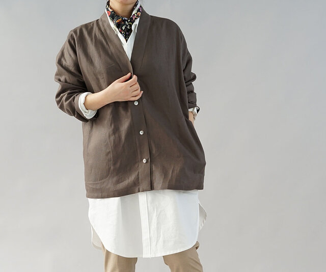 【wafu】中厚 リネン カーディガン 羽織 ドロップショルダー 長袖 / ヴァンダイク ブラウン h042a-vbn2の画像1枚目