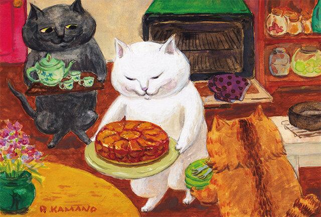 カマノレイコ オリジナル猫ポストカード「タルトタタン」2枚セットの画像1枚目