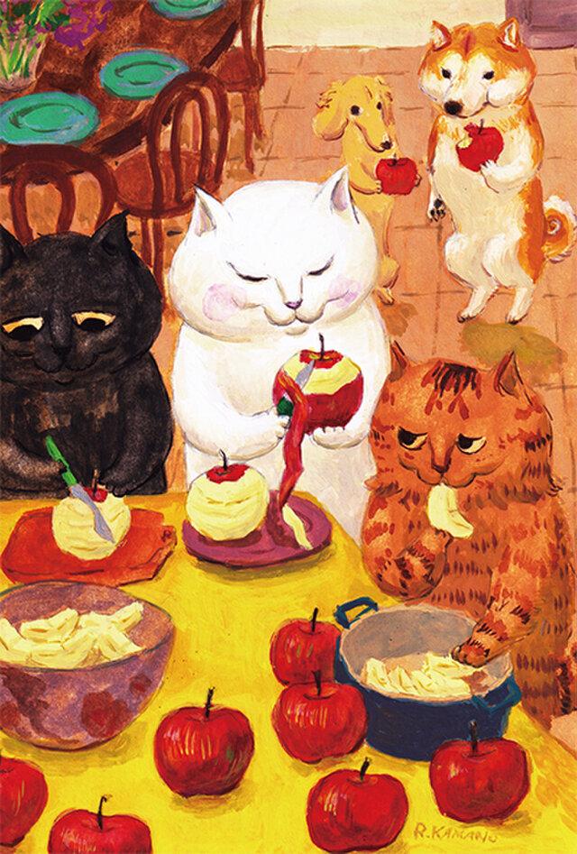 カマノレイコ オリジナル猫ポストカード「タルトタタンの準備」2枚セットの画像1枚目