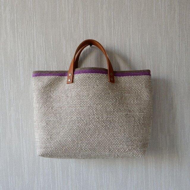 裂き織りのバッグML バニラ色の画像1枚目