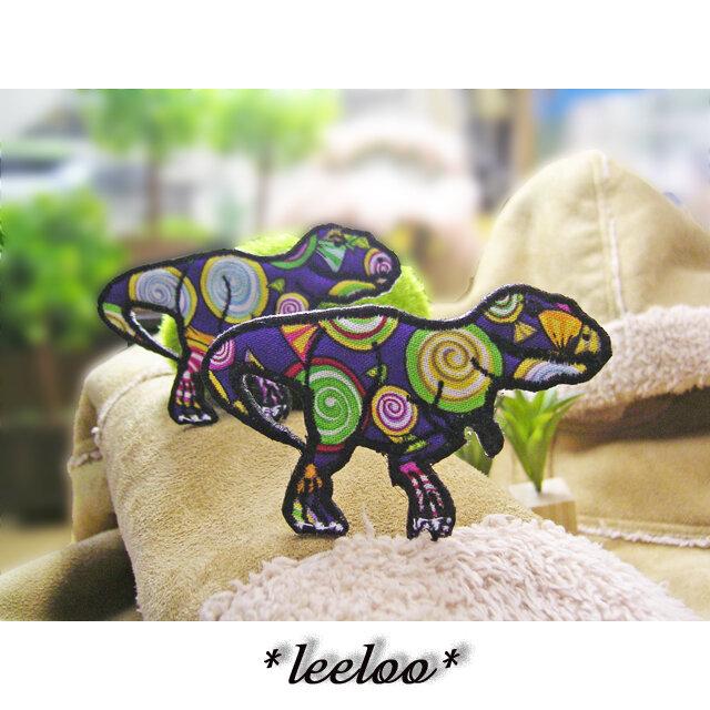人気の恐竜テラノサウルス/キャンディ柄★ワッペン8.5-2枚の画像1枚目