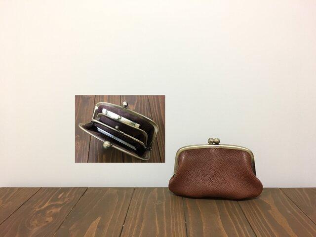 姫路レザー mini親子がま口◆焦げ茶 カンなし 14cmの画像1枚目