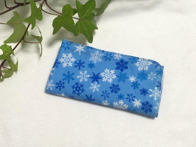 ガーゼハンカチ 雪の結晶 青 30サイズの画像1枚目