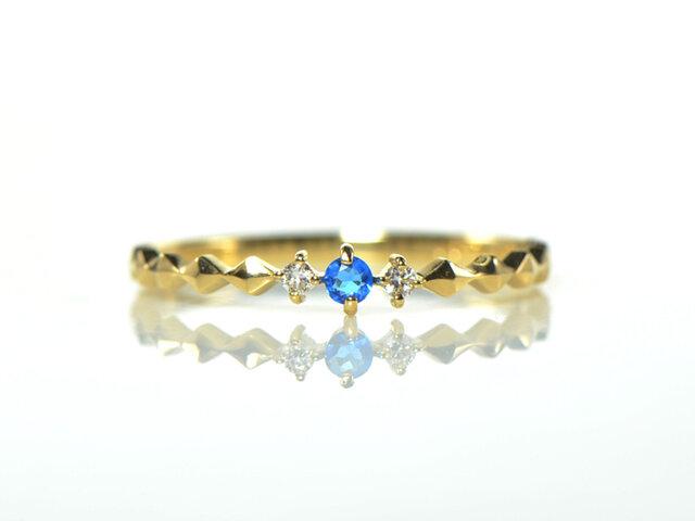 アウイナイト×ダイヤモンド リング K18イエローゴールド  -carreau- YK-AV004の画像1枚目