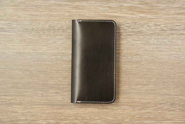牛革 iPhone XS Max カバー  ヌメ革  レザーケース  手帳型  ブラックカラーの画像1枚目
