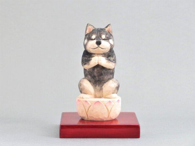 木彫り 犬仏さま 黒柴犬 犬仏1906の画像1枚目