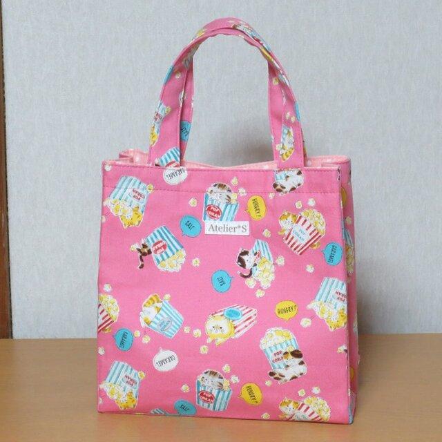 【再販】ミニスクエアトートバッグ★ポップコーンとネコ柄(ピンク)の画像1枚目