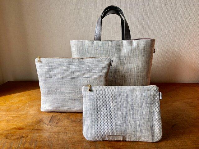 帯リメイクMini Tote Bag・Porch3点セット(灰白色)の画像1枚目
