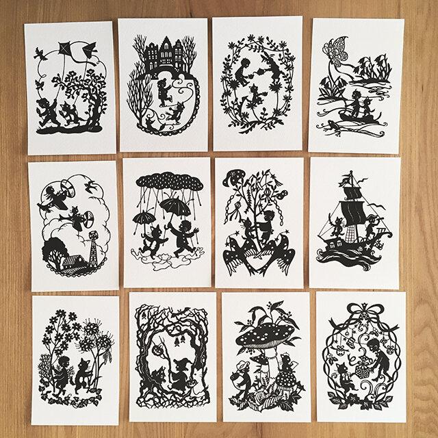 切り絵ポストカードセット◯ろくとくろの選べる3枚組の画像1枚目
