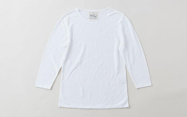 リネンコットンアンダーウェア 7分袖(ホワイト・レディースMサイズ)の画像1枚目