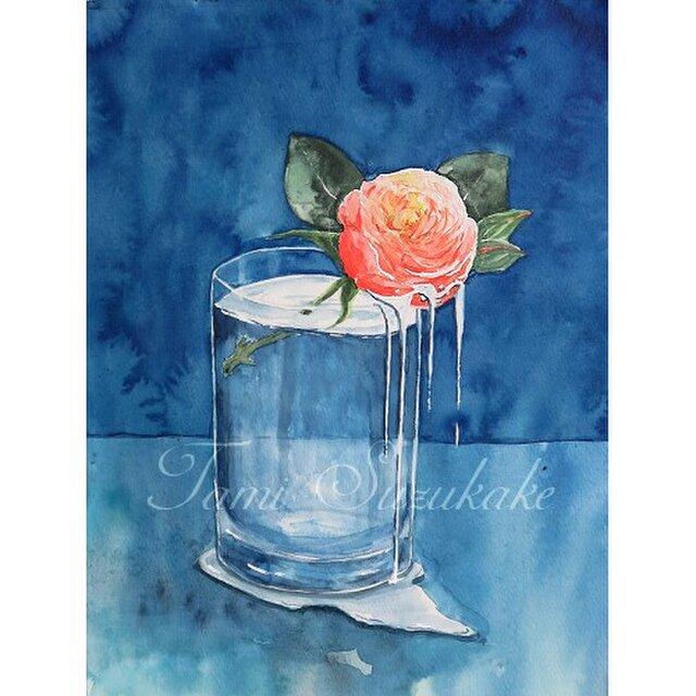 水彩画(原画)「薔薇の雫」の画像1枚目