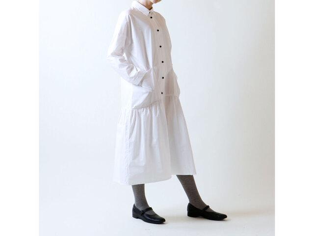 ハイカウントコットン・コート・ワンピース/ホワイトの画像1枚目