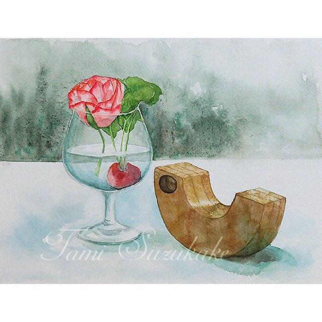 水彩画(原画)「薔薇と木製玩具」の画像1枚目