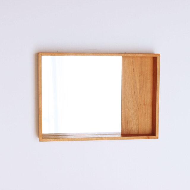 木製 箱鏡 桜材7 ミラーの画像1枚目