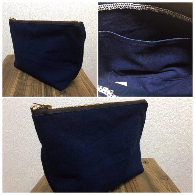 藍染め帆布ポーチ:大きめの画像1枚目