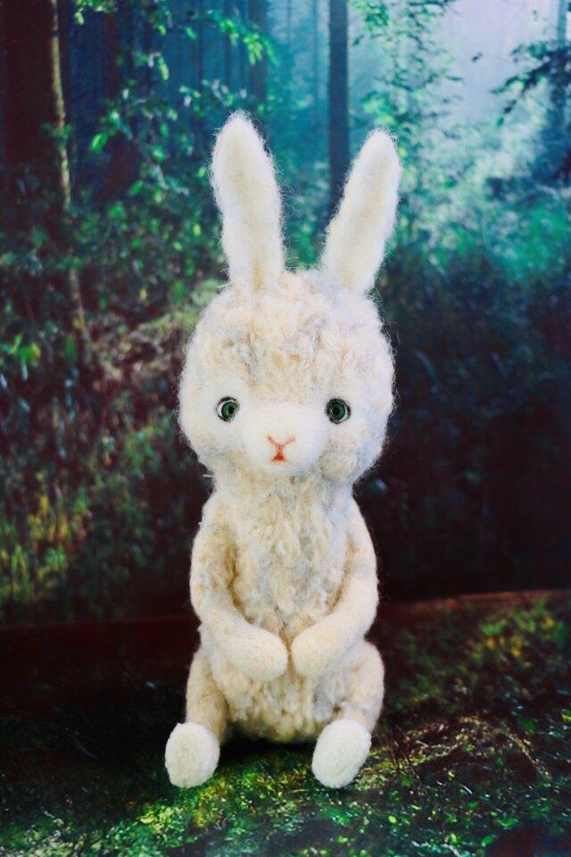 羊毛フェルト グリーンの目のウサギちゃん うさぎ ハンドメイド ミニチュア 動物 ぬいぐるみ ドール テディベアの画像1枚目