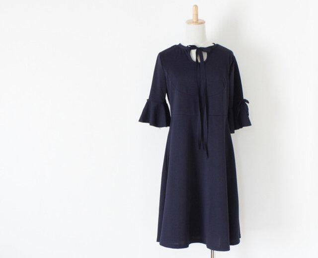 【送料無料】 ネイビー リボン ドレス ワンピース フォーマルの画像1枚目