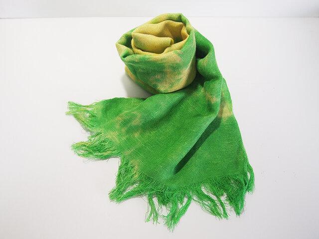 国産シルク100%手描き染めストール green&yellow-の画像1枚目