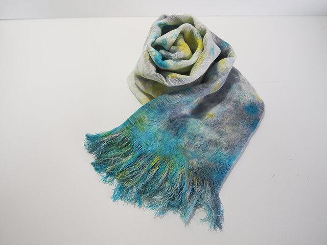国産シルク100%手描き染めストール gray yellow&blueの画像1枚目