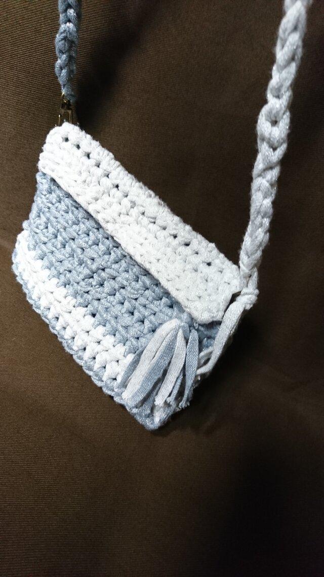 手編み*きらきらミニバック  ポシェット ラメ入りバック  ポーチの画像1枚目