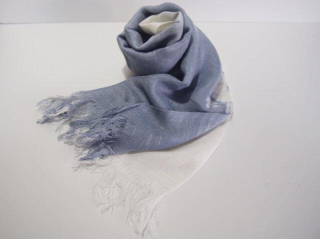 国産シルク100%手描き染めストール gray&whiteの画像1枚目