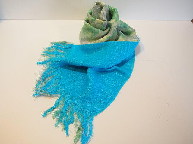 国産シルク100%手描き染めストール blue&green grayの画像1枚目