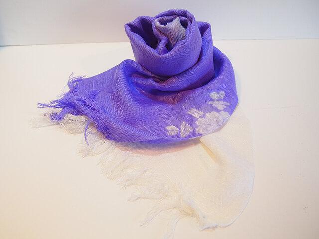 国産シルク100%手描き染めストール purple&whiteの画像1枚目