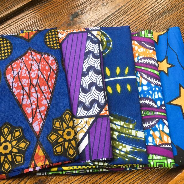カットクロス 5枚セット  はぎれ アフリカ 布 パーニュ ブルーネイビーの画像1枚目
