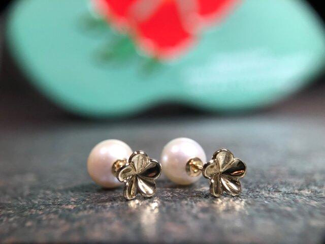 """Pearl & Plumeria Pierce """" パールとプルメリアのオシャレなピアス""""の画像1枚目"""