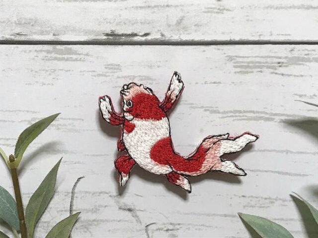 手刺繍浮世絵ブローチ*国芳の金魚Aの画像1枚目