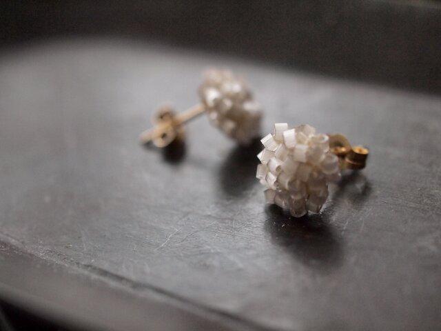タティングレース 14kgf  confeito(コンフェイト)silk beads  light gray 受注制作の画像1枚目