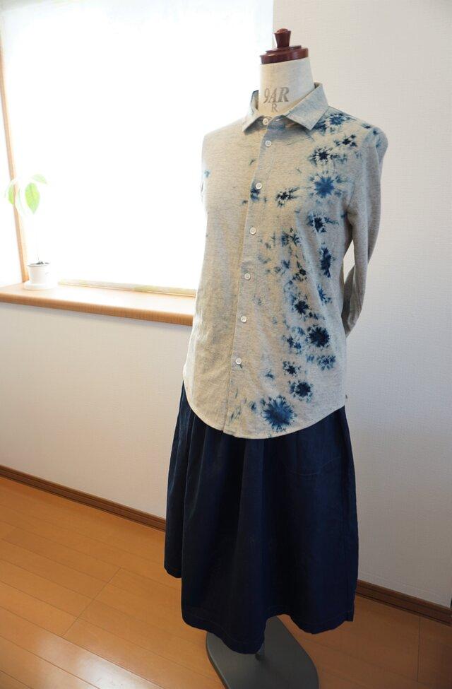 藍染 カットソー長袖シャツ 白影 size1の画像1枚目