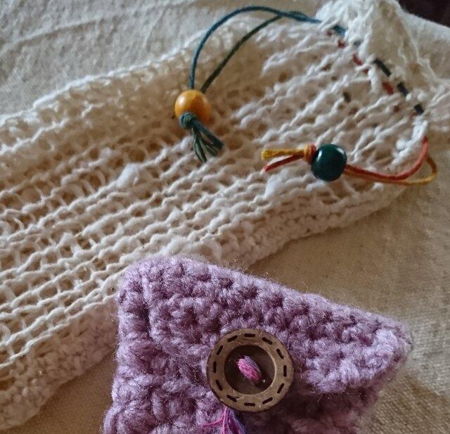 手編み*綿わた そのまま、無垢のオーガニックコットンで編んだ携帯ケースとミニミニ小物いれのセット♪の画像1枚目