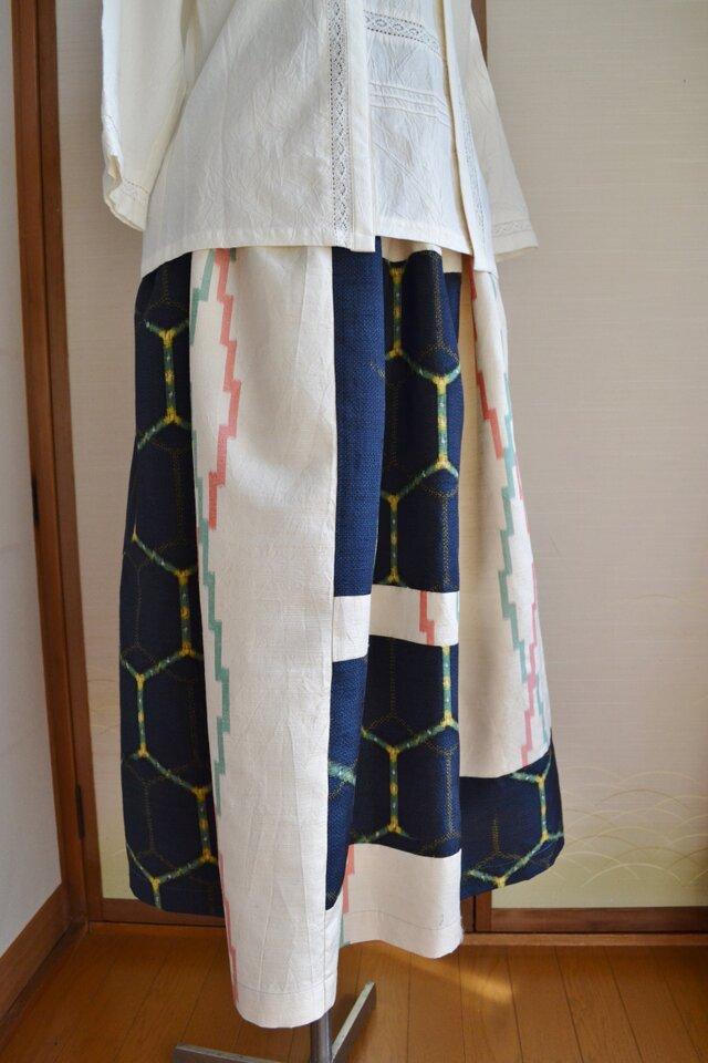 着物リメイク 紬のぜいたくなパッチワーク J-19の画像1枚目