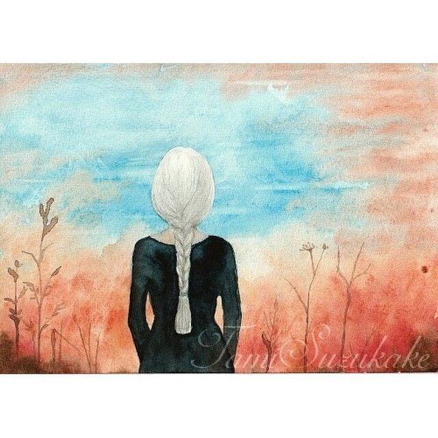 水彩画(原画)「焔立つ(ほむらたつ)」の画像1枚目