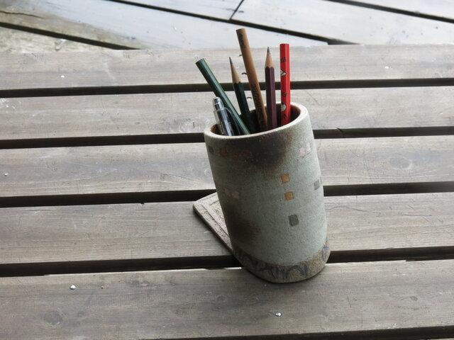 窓のあるペン立て(ブルー・グリーン)004の画像1枚目