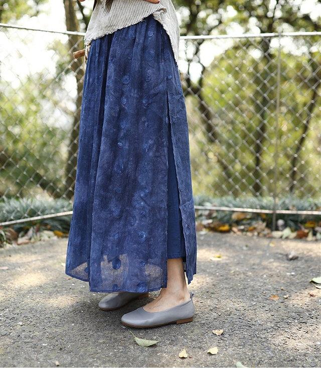 【受注製作】天然素材で・手染生地製作したロングスカート リンネ麻の画像1枚目