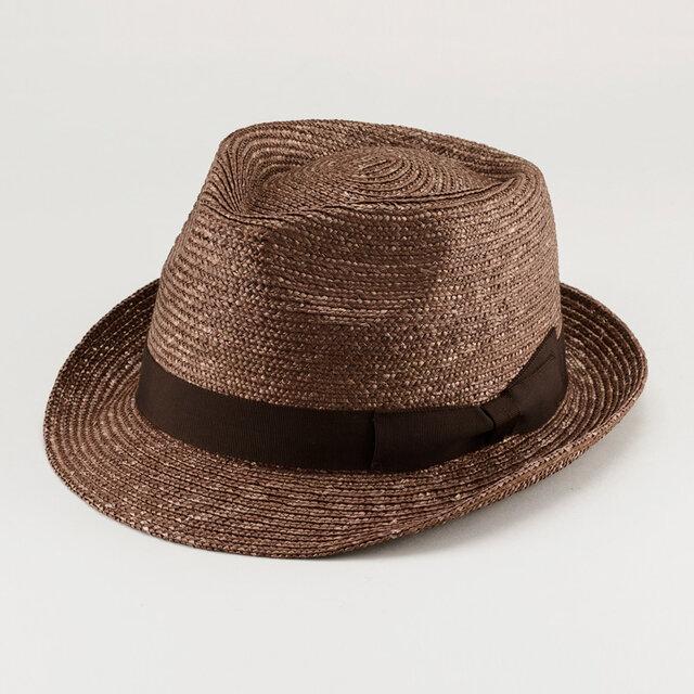 アラン 中折れ 麦わら帽子 ストローハット 麦わら 帽子 ブラウン 59cm [UK-H014-BR-L]の画像1枚目