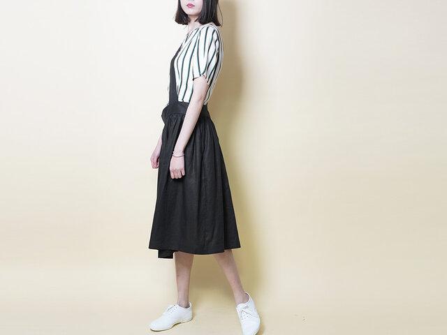 【数量限定ハンドメイド2019】麻100 ワンショルダー スカート黒の画像1枚目
