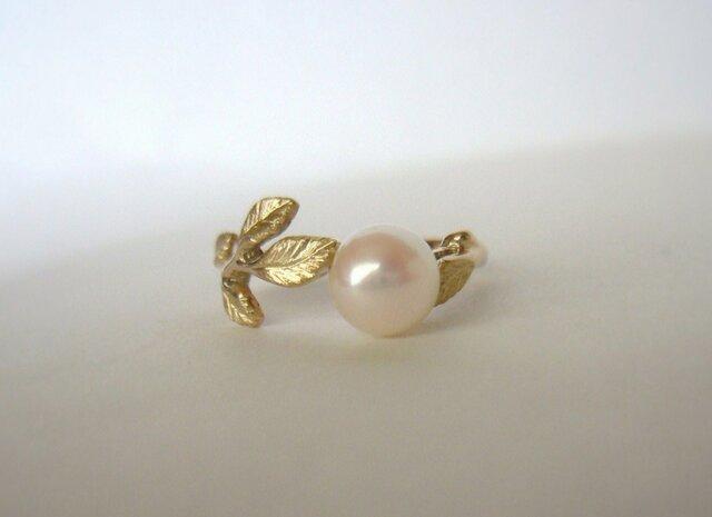 「アコヤ真珠と若草の指輪  受注製作」の画像1枚目
